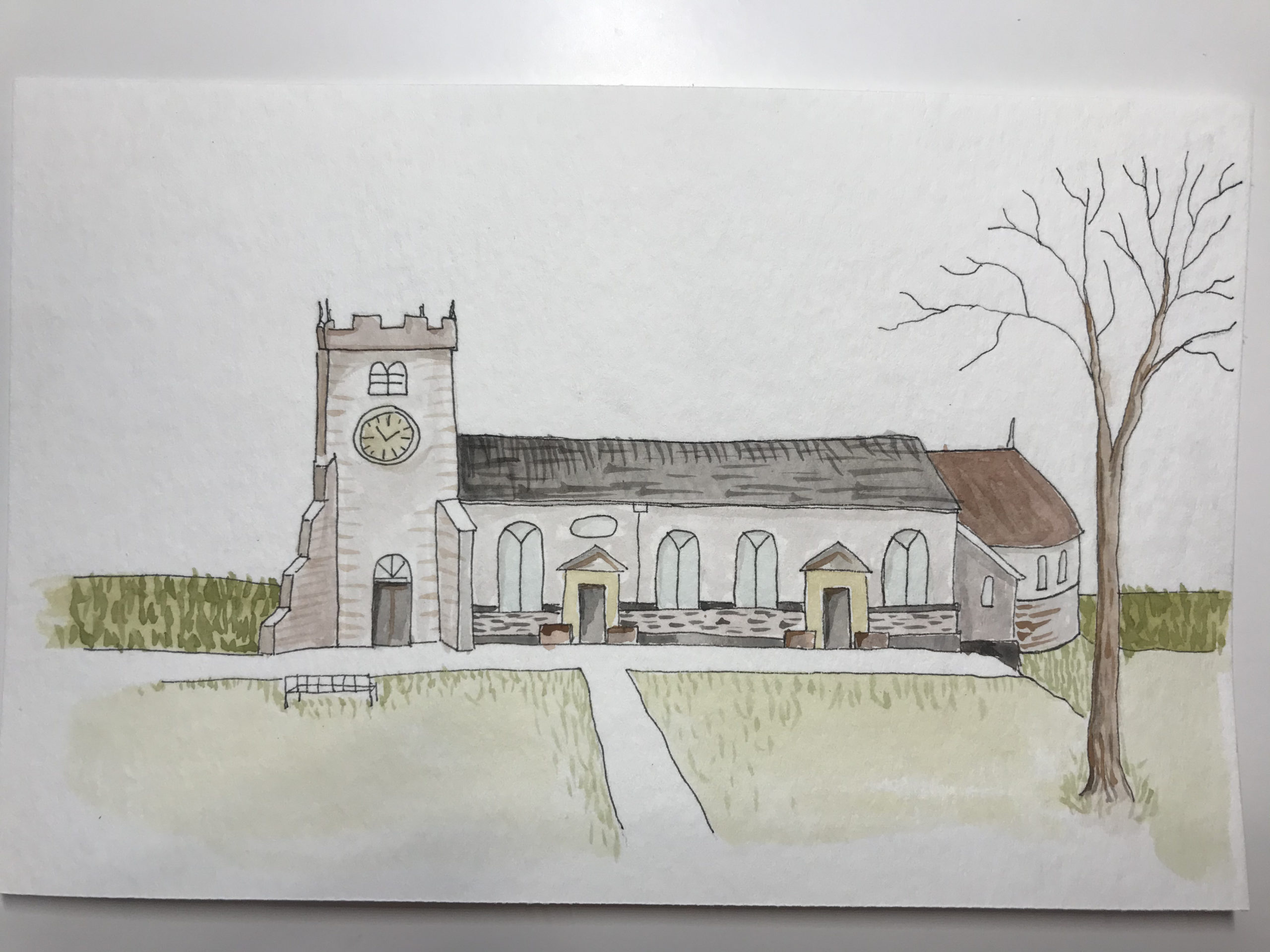 St Chad's Church Poulton-le-Fylde, Ink and Watercolor